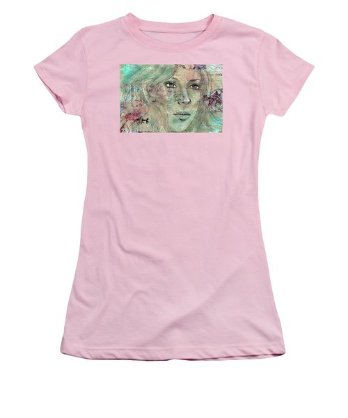 Women's T-Shirt (Junior Cut) featuring the drawing Thinking Back by P J Lewis