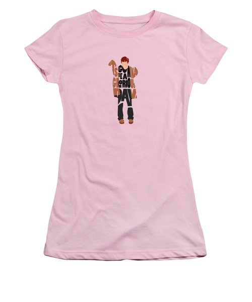 Women's T-Shirt (Athletic Fit) featuring the digital art Thom Yorke Typography Art by Inspirowl Design
