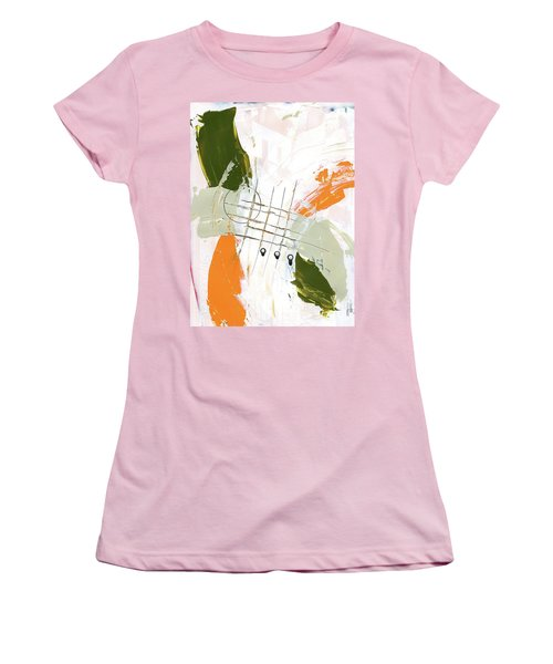 Women's T-Shirt (Junior Cut) featuring the painting Three Color Palette Orange 3 by Michal Mitak Mahgerefteh