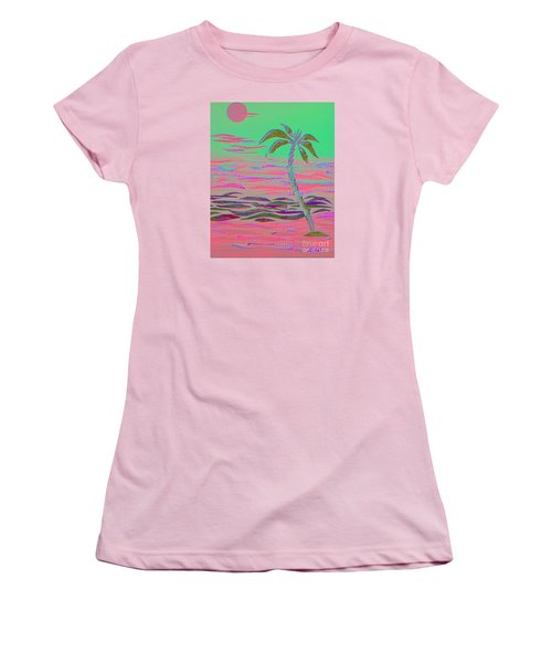 Hot Pink Coconut Palm Women's T-Shirt (Athletic Fit)