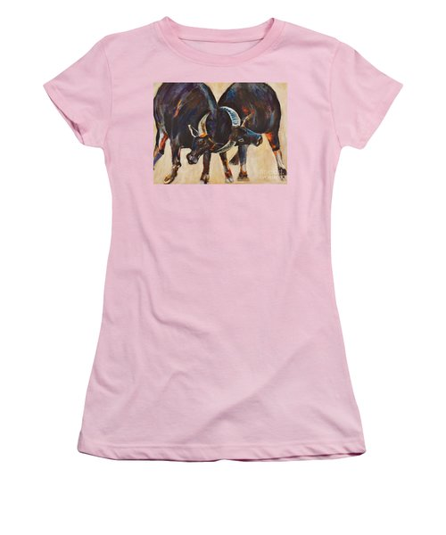 Two Bulls Fighting Women's T-Shirt (Athletic Fit)