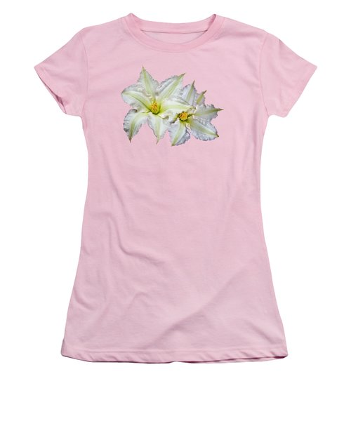 Two Clematis Flowers On Pale Purple Women's T-Shirt (Junior Cut) by Jane McIlroy