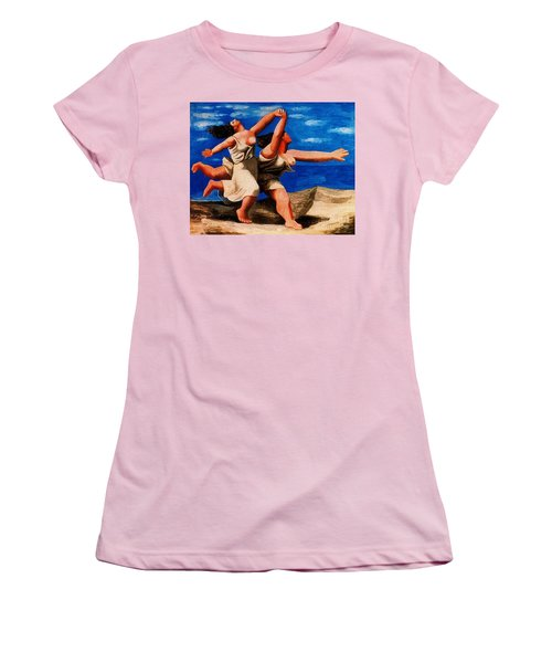 Two Women Running On The Beach Women's T-Shirt (Athletic Fit)