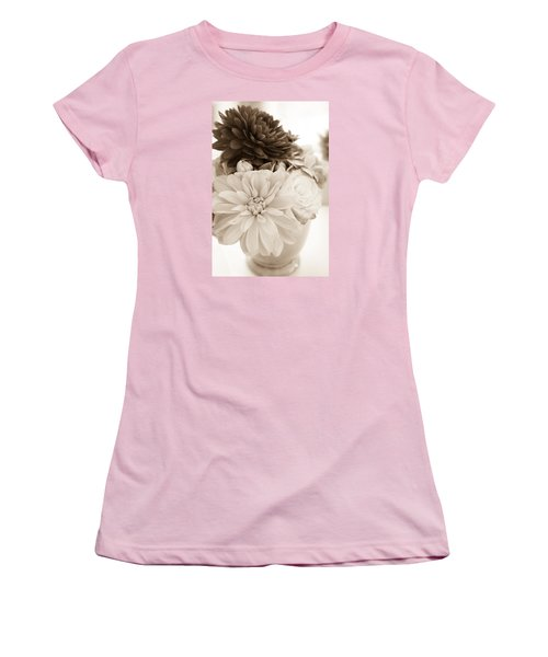 Vase Of Flowers In Sepia Women's T-Shirt (Junior Cut) by Joni Eskridge
