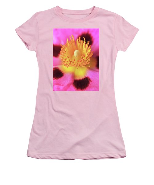 Women's T-Shirt (Junior Cut) featuring the photograph Vibrant Cistus Heart. by Terence Davis