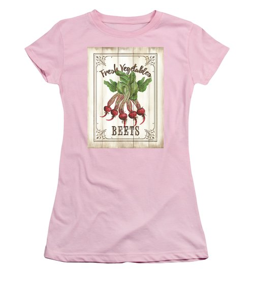 Women's T-Shirt (Junior Cut) featuring the painting Vintage Fresh Vegetables 1 by Debbie DeWitt