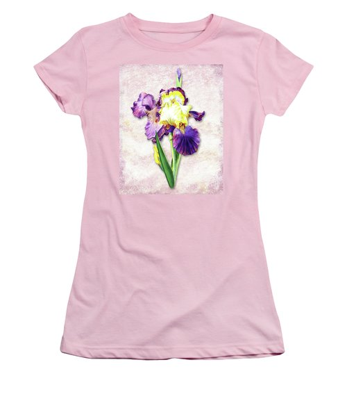 Women's T-Shirt (Athletic Fit) featuring the painting Vintage Purple Watercolor Iris by Irina Sztukowski