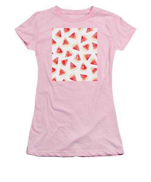 Watercolor Watermelon Pattern Women's T-Shirt (Junior Cut) by Uma Gokhale