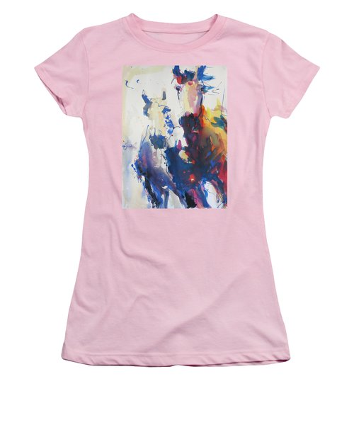 Women's T-Shirt (Junior Cut) featuring the painting Wild Wild Horses by Robert Joyner