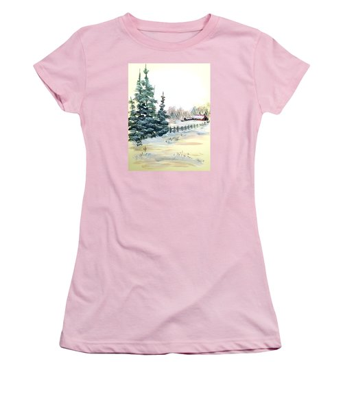 Winter Comes At The Farm  Women's T-Shirt (Junior Cut) by Dorothy Maier