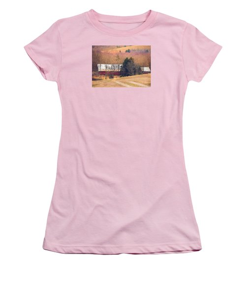 Women's T-Shirt (Junior Cut) featuring the photograph Winter Day At The Farm by Debbie Karnes