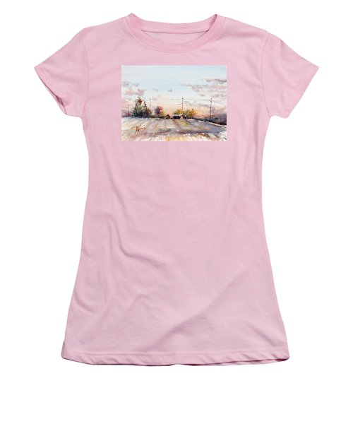 Winter Sunrise On The Lane Women's T-Shirt (Athletic Fit)