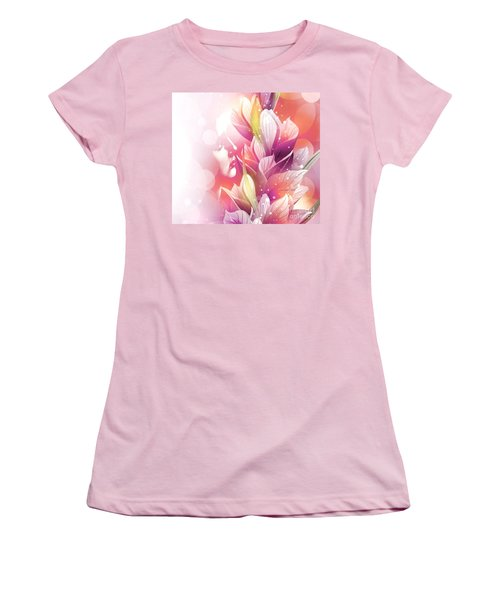 Woman And Flowers Women's T-Shirt (Junior Cut) by Annie Zeno