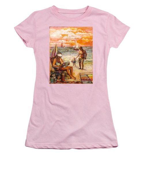 Woman Reading On The Beach Women's T-Shirt (Athletic Fit)