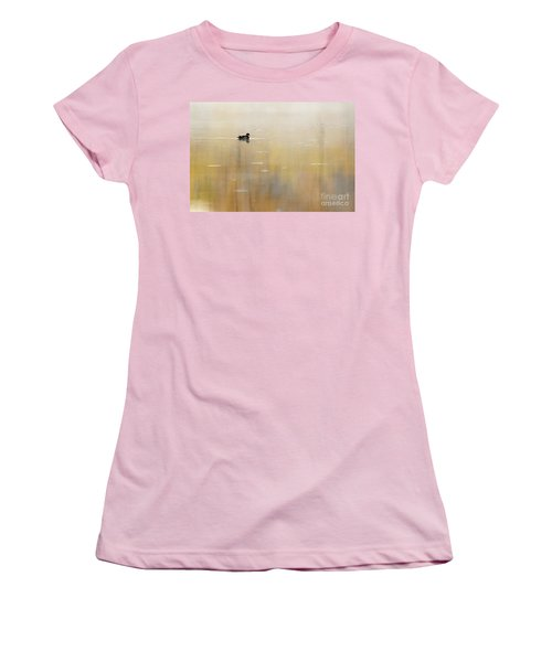Women's T-Shirt (Junior Cut) featuring the photograph Wood Duck On Golden Pond by Larry Ricker