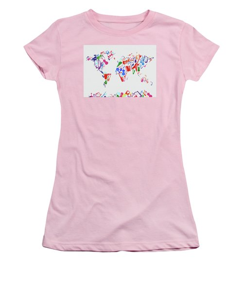 Women's T-Shirt (Junior Cut) featuring the digital art World Map Music 3 by Bekim Art