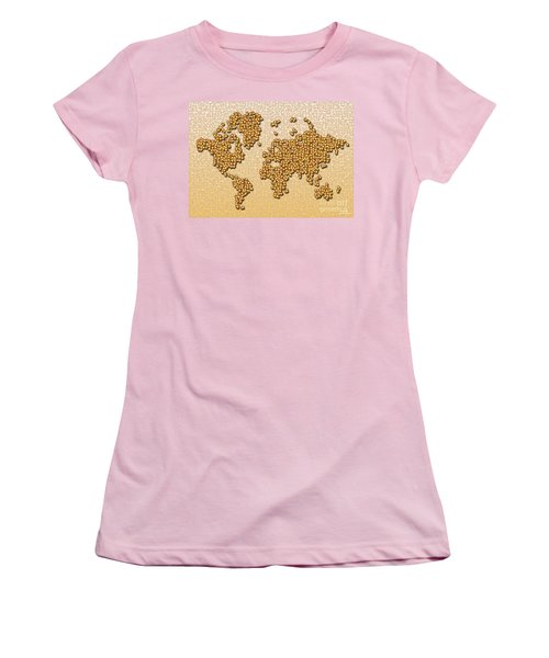World Map Rolamento In Yellow And Brown Women's T-Shirt (Athletic Fit)