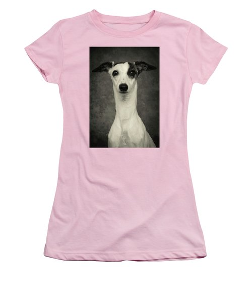 Young Whippet In Black And White Women's T-Shirt (Junior Cut) by Greg and Chrystal Mimbs