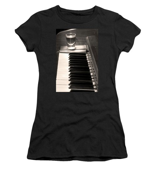 A Shot Of Bourbon Whiskey And The Bw Piano Ivory Keys In Sepia Women's T-Shirt