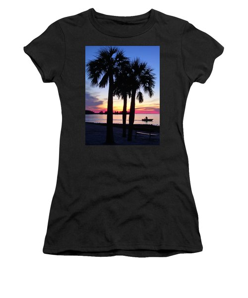 Women's T-Shirt (Junior Cut) featuring the photograph  Beach Sunset by Aimee L Maher Photography and Art Visit ALMGallerydotcom