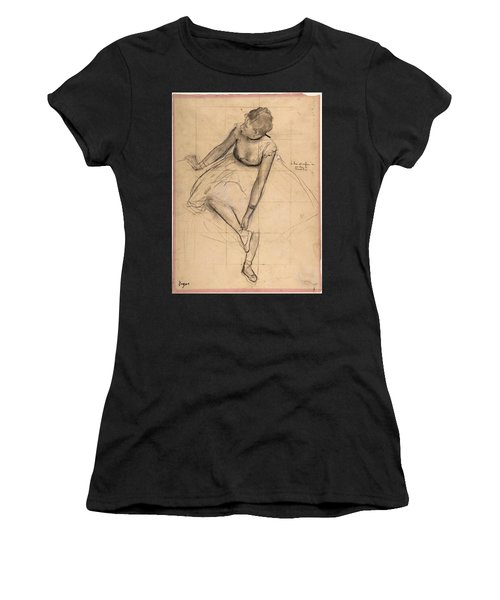Women's T-Shirt featuring the drawing  Dancer Adjusting Her Slipper by Edgar Degas