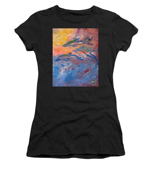 Soaring Dolphins Women's T-Shirt (Athletic Fit)