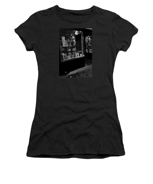 Women's T-Shirt (Junior Cut) featuring the photograph  Window Display Night Of Elvis Presley's Death Recordland Portland Maine  1977 by David Lee Guss