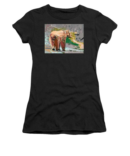 081914 Pastel Painting Grizzly Bear Women's T-Shirt