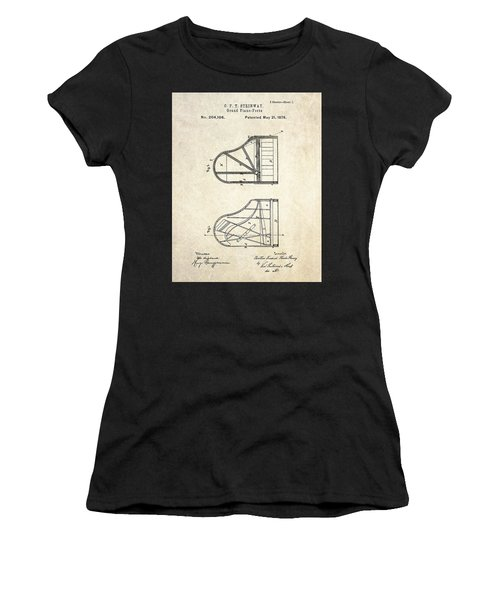1878 Steinway Grand Piano Forte Patent Art S. 1 Women's T-Shirt (Athletic Fit)