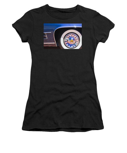 Women's T-Shirt featuring the photograph 1962 Ghia L6.5 Coupe Wheel Emblem by Jill Reger