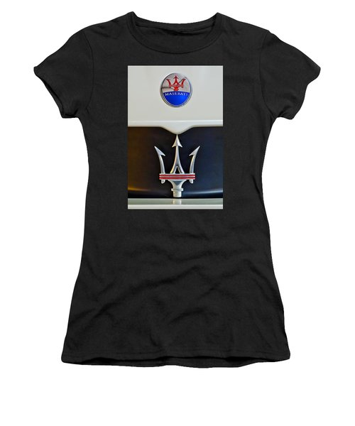 2005 Maserati Mc12 Hood Emblem Women's T-Shirt (Junior Cut) by Jill Reger