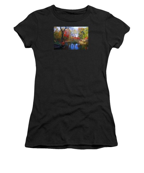Autumn By The Creek Women's T-Shirt (Junior Cut) by Dora Sofia Caputo Photographic Art and Design