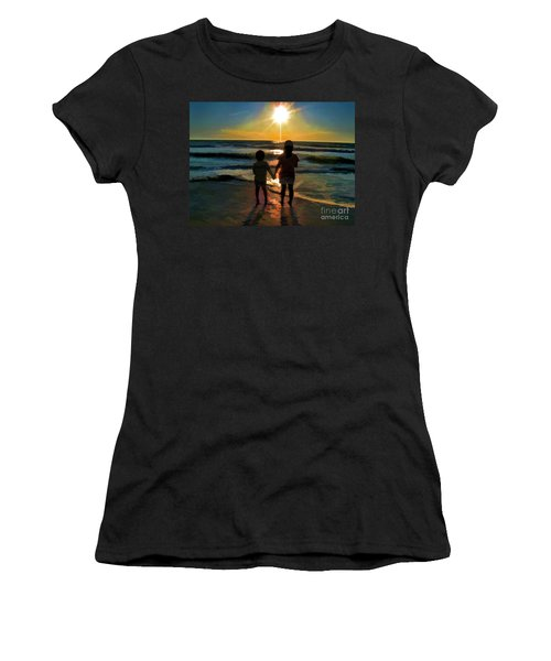 Women's T-Shirt (Athletic Fit) featuring the digital art Beach Kids by Margie Chapman