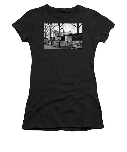 Women's T-Shirt featuring the photograph Book Sellers By The Seine / Paris by Barry O Carroll