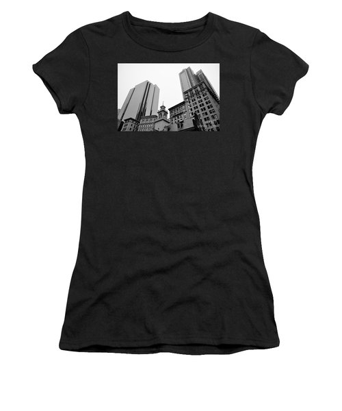 Boston Cityscape Black And White Women's T-Shirt (Athletic Fit)
