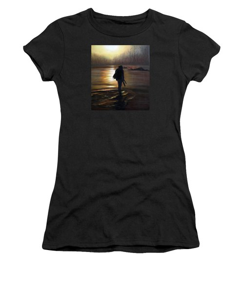 Women's T-Shirt (Junior Cut) featuring the painting Crossing The River by Vesna Martinjak