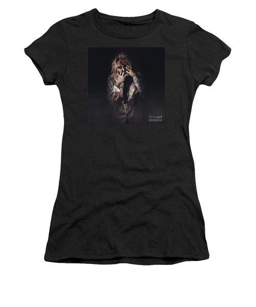 Dark Halloween Portrait. Scary Evil Zombie Women's T-Shirt