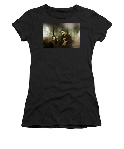 Father And Son In Gasmask. Nuclear Terror Attack Women's T-Shirt