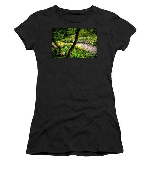 Garden Bench Women's T-Shirt (Junior Cut) by Joe Mamer
