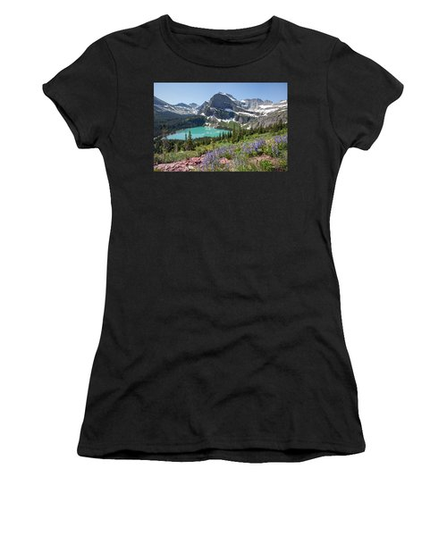 Grinnell Lake Flowers Women's T-Shirt (Athletic Fit)