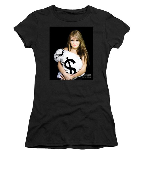 Happy Woman With A Bag Of American Dollar Bills Women's T-Shirt