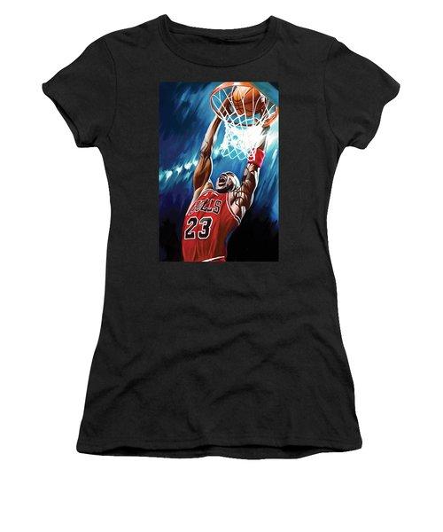 Michael Jordan Artwork Women's T-Shirt (Athletic Fit)