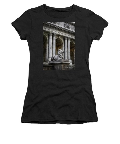 Ny Library Lion Women's T-Shirt (Junior Cut) by Jerry Fornarotto