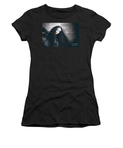 Occult Medieval Performer On Castle Brick Wall Women's T-Shirt (Athletic Fit)