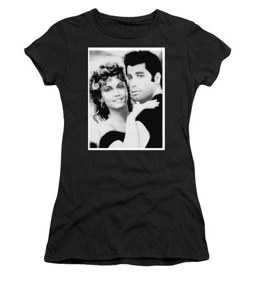 Olivia Newton John And John Travolta In Grease Collage Women's T-Shirt