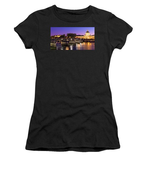 Women's T-Shirt featuring the photograph Pont Des Arts At Night / Paris by Barry O Carroll