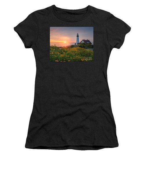 Portland Head Light Sunrise  Women's T-Shirt (Athletic Fit)