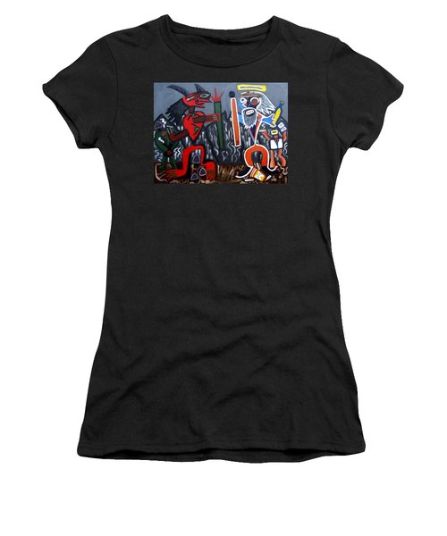Women's T-Shirt (Junior Cut) featuring the painting Pros Vs. Cons by Ryan Demaree