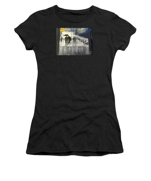 Rainy City Street Women's T-Shirt (Athletic Fit)