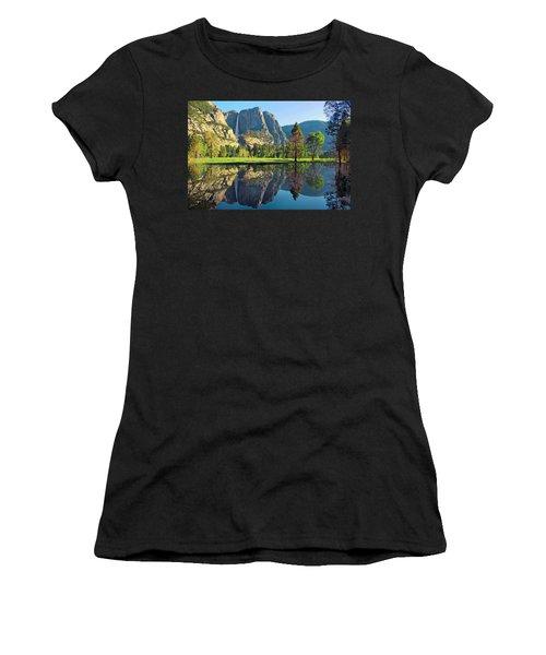 Reflections Of Yosemite Falls Women's T-Shirt (Athletic Fit)